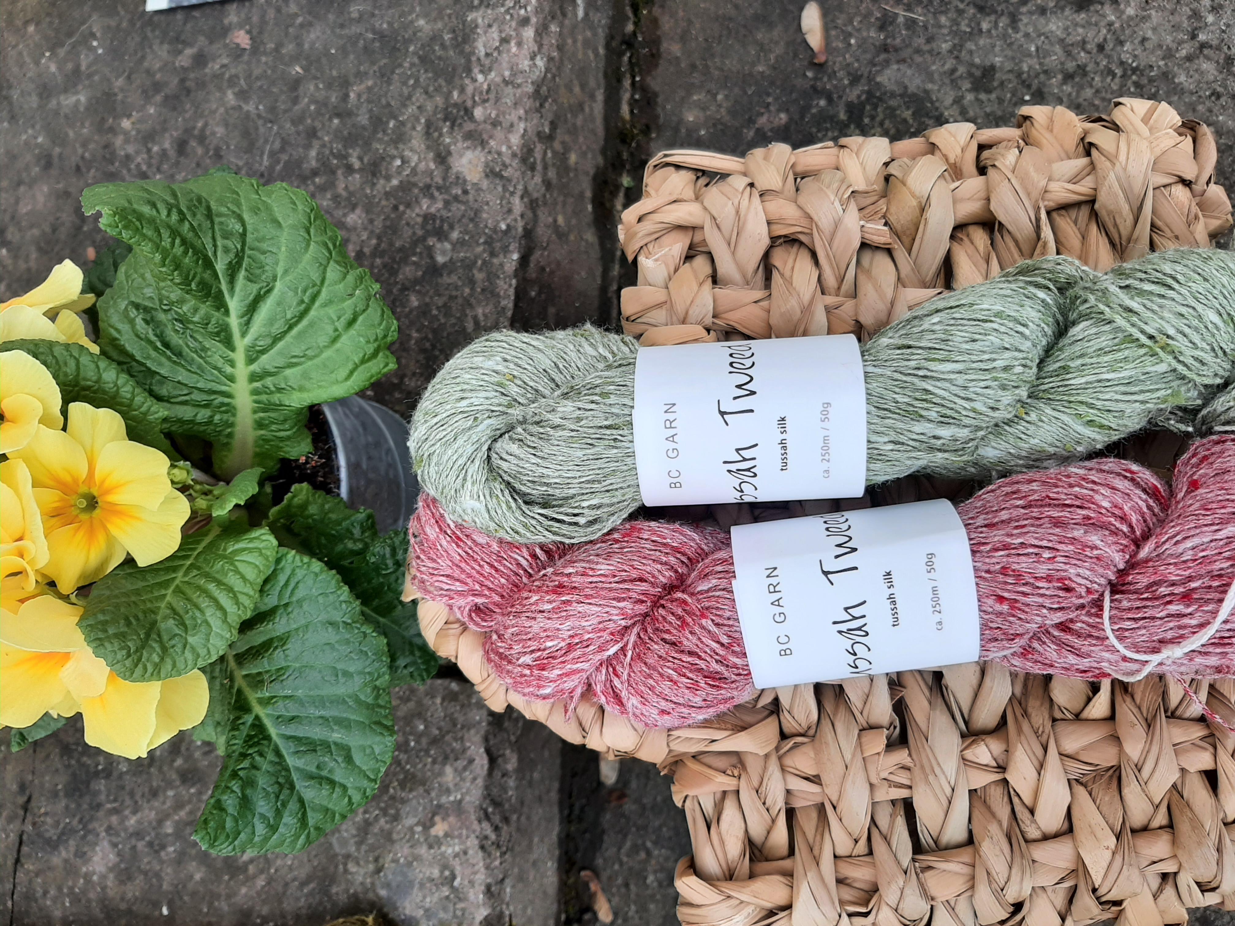 Tussah Tweed grün rot