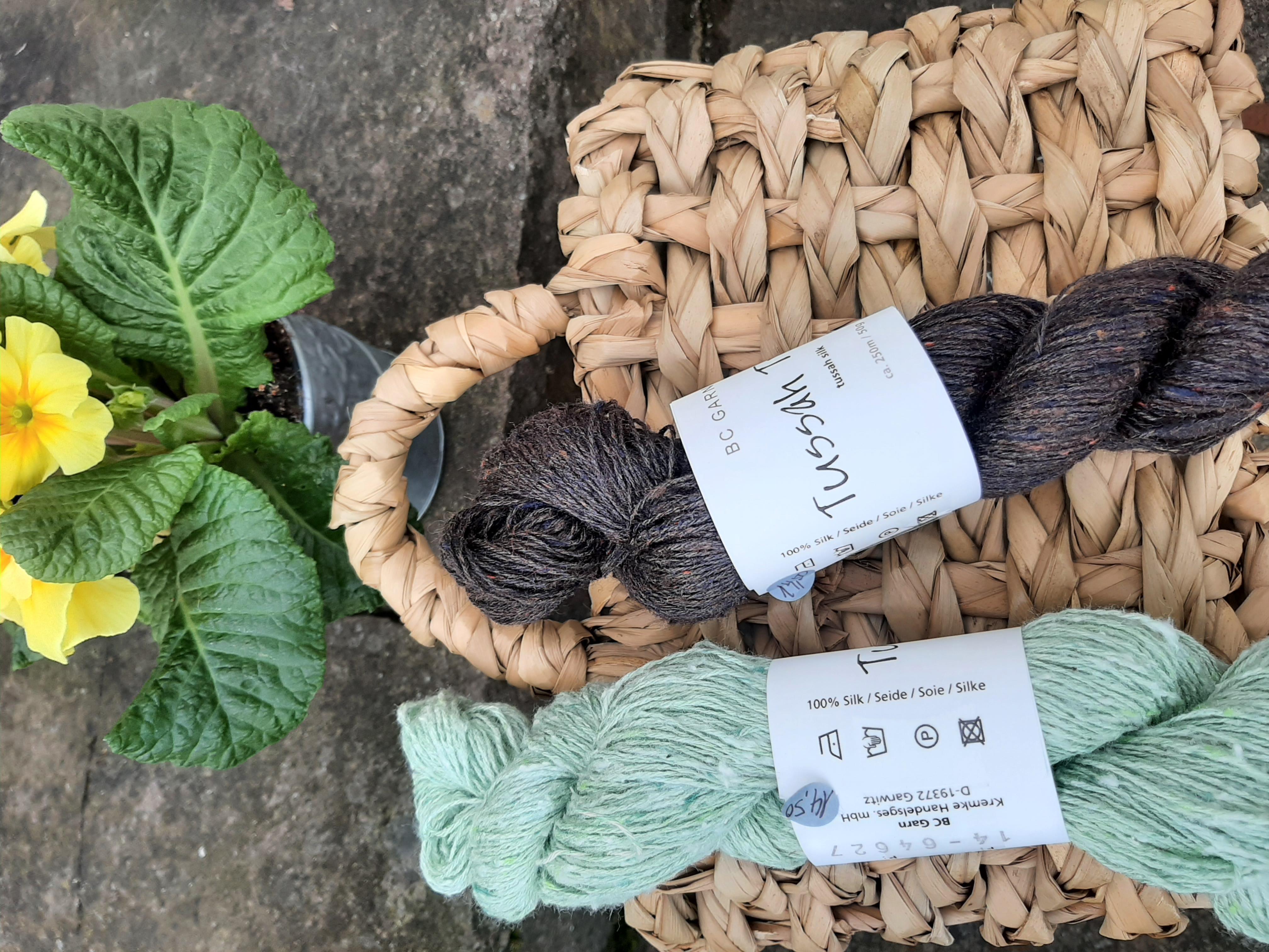 Tussah Tweed grün braun